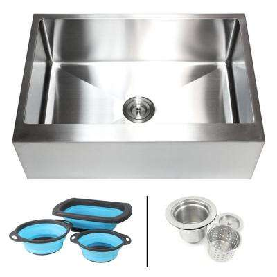 Farmhouse/Apron-Front 16-Gauge Stainless Steel 30 in. Flat Single Bowl Kitchen Sink with Collapsible Silicone Colanders