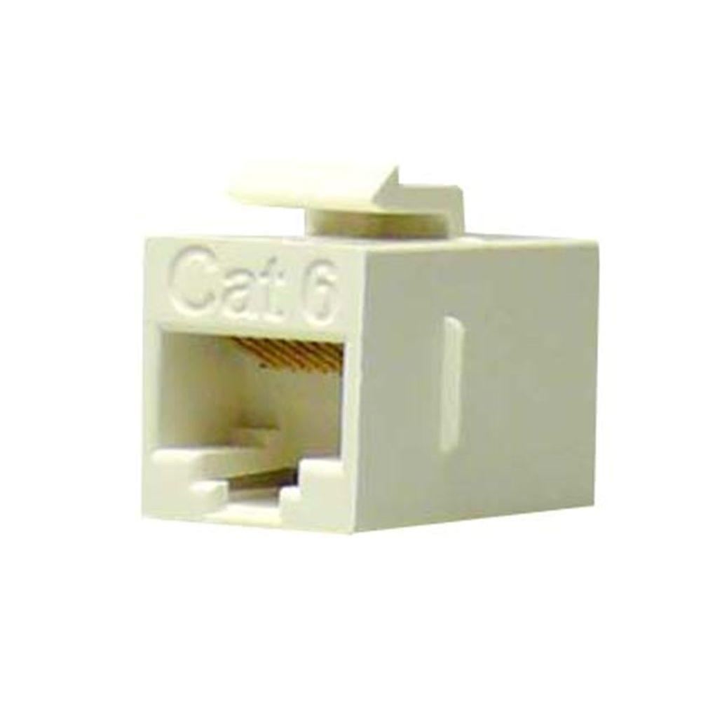NTW Cat6 Slim Straight F/F Feed-Through White Snap-In Keystone Coupler Jack