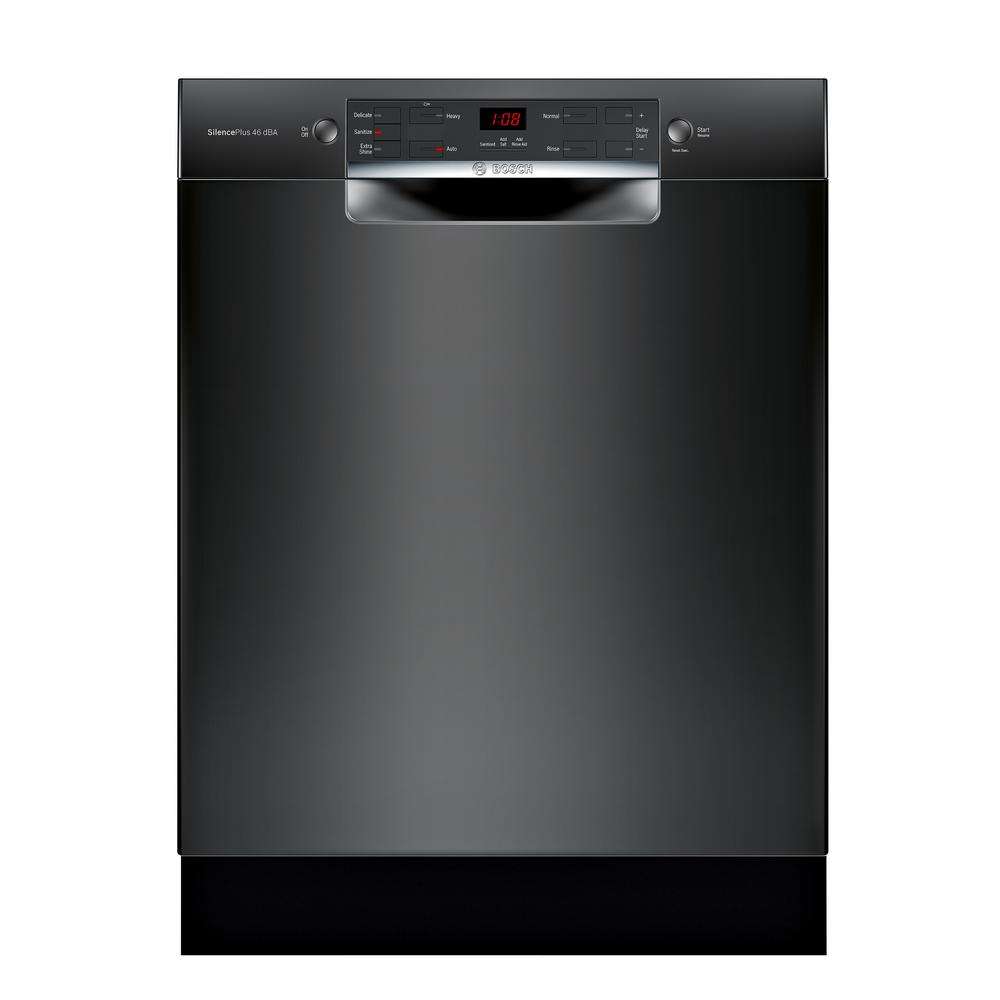 Bosch 300 Series 24 in. ADA Front Control Dishwasher in Black with Stainless Steel Tub, 46dBA