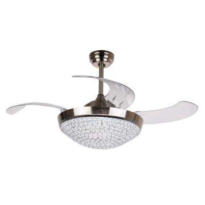 Elaine 46 in. LED Indoor Chrome Downrod Mount Retractable Ceiling Fan with Light Kit Remote Control Dimmable