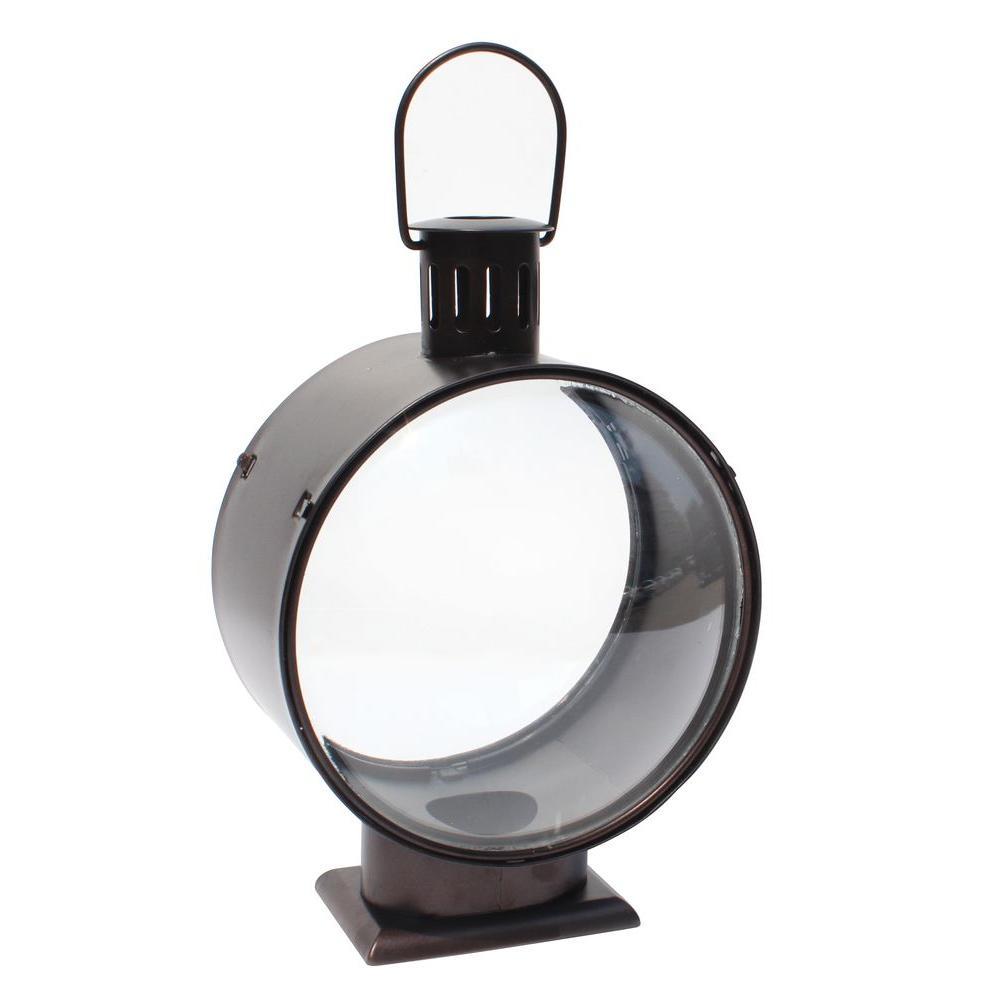 Hampton Bay 11.2 in. Metal Lantern with Glass