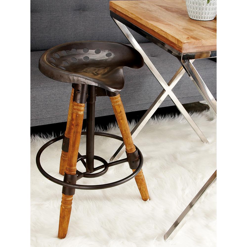 New Traditional Iron and Wood Saddle Tripod Bar Stool