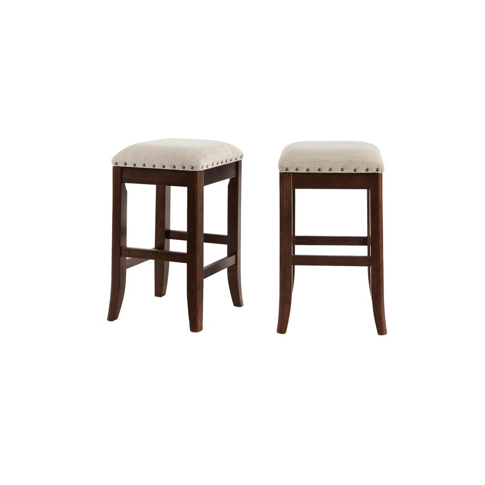 StyleWell Ruby Hill Chocolate Wood Upholstered Backless Counter Stool with Biscuit Beige Seat (Set of 2) (14.4 in. W x 23.8 in. H), Biscuit Beige/ was $129.0 now $77.4 (40.0% off)