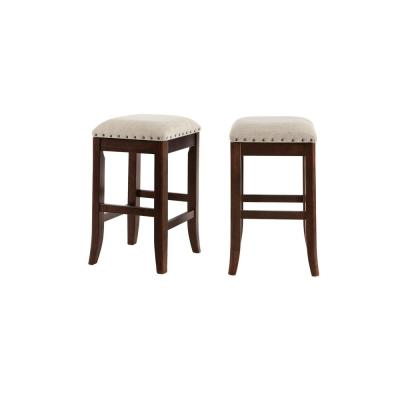Ruby Hill Chocolate Wood Upholstered Backless Counter Stool with Biscuit Beige Seat (Set of 2) (14.4 in. W x 23.8 in. H)