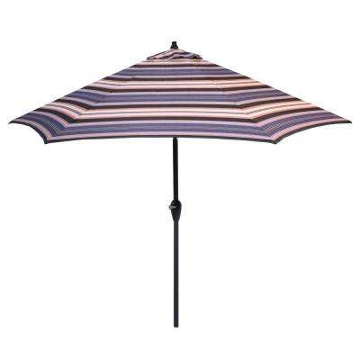 9 ft. Aluminum Market Tilt Patio Umbrella in Bradley Stripe