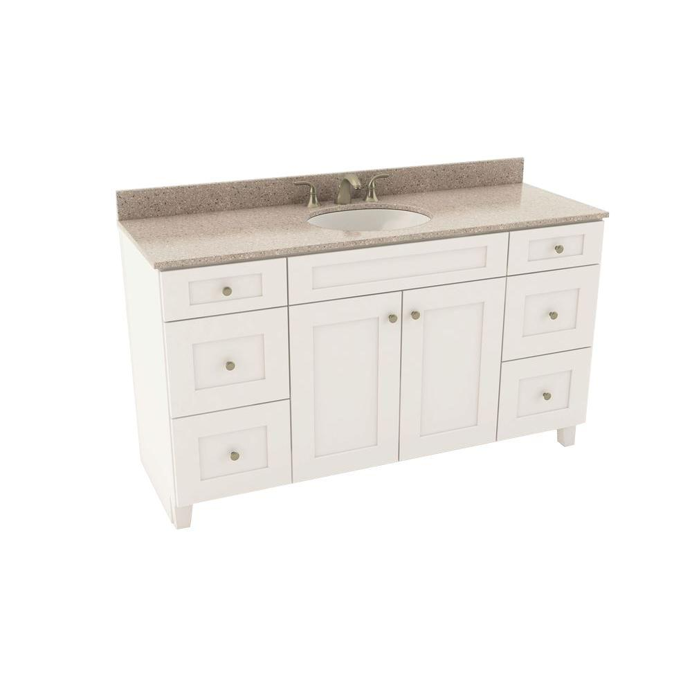 American Woodmark Reading 61 in. Vanity in Linen with Silestone Quartz Vanity Top in Alpina White and Oval White Sink