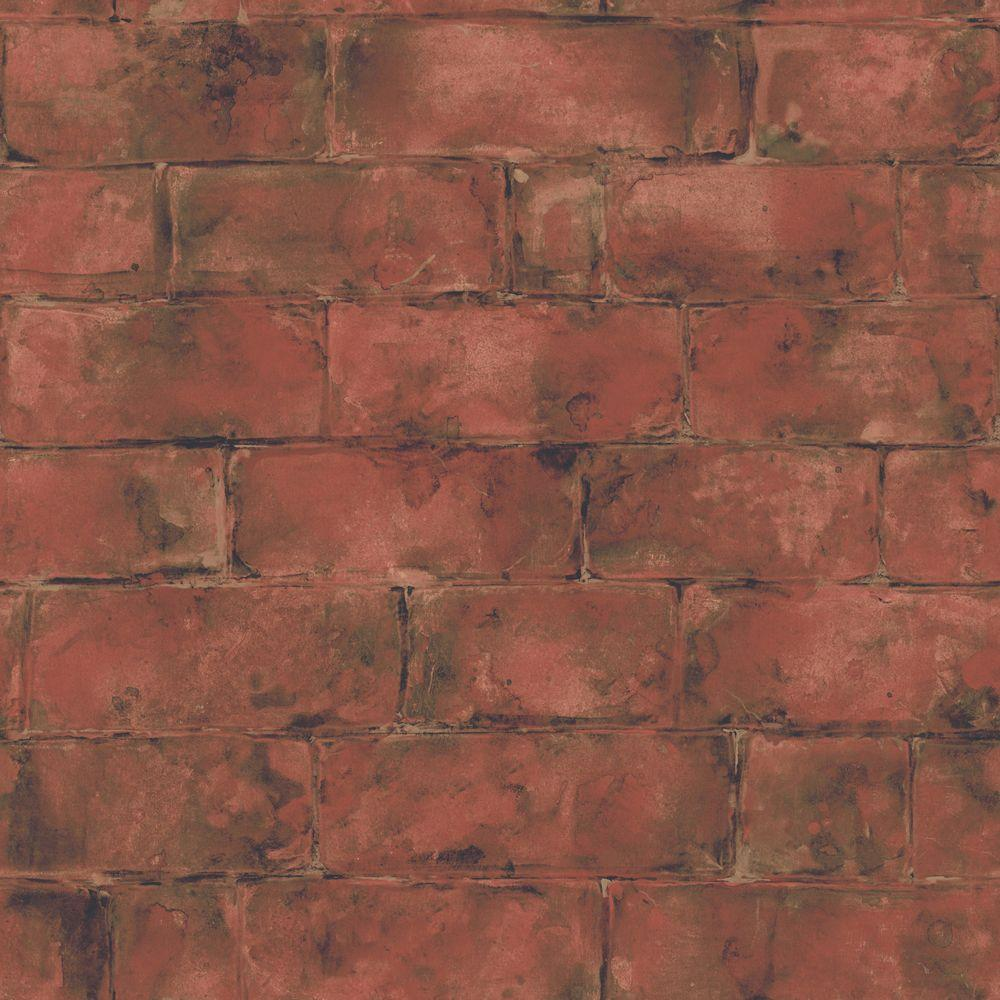 The Wallpaper Company 56 sq. ft. Red Earth Tone Brick Wallpaper-DISCONTINUED