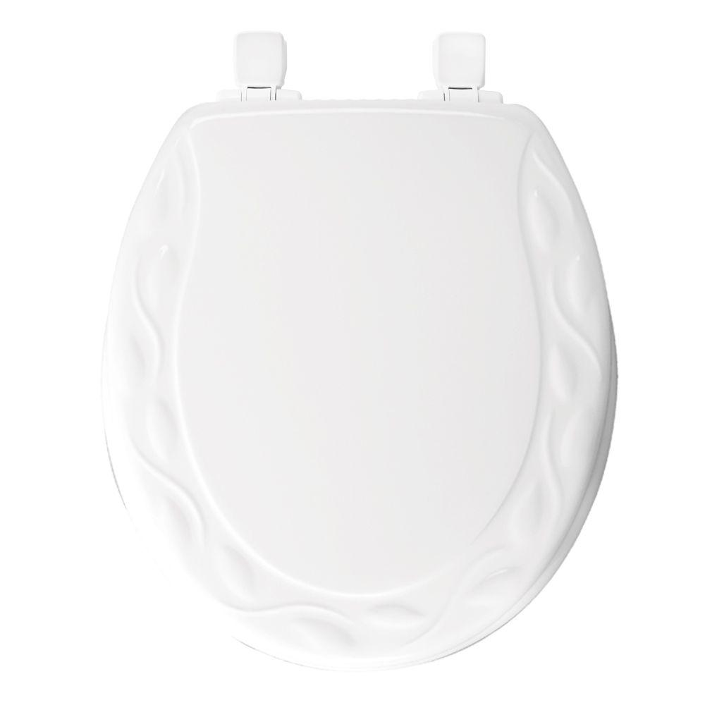 STA-TITE Sculptured Round Closed Front Toilet Seat in White