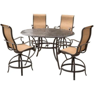 Somerset 5-Piece Aluminum Round Outdoor Bar-Height Dining Set with Swivels and Cast-Top Table