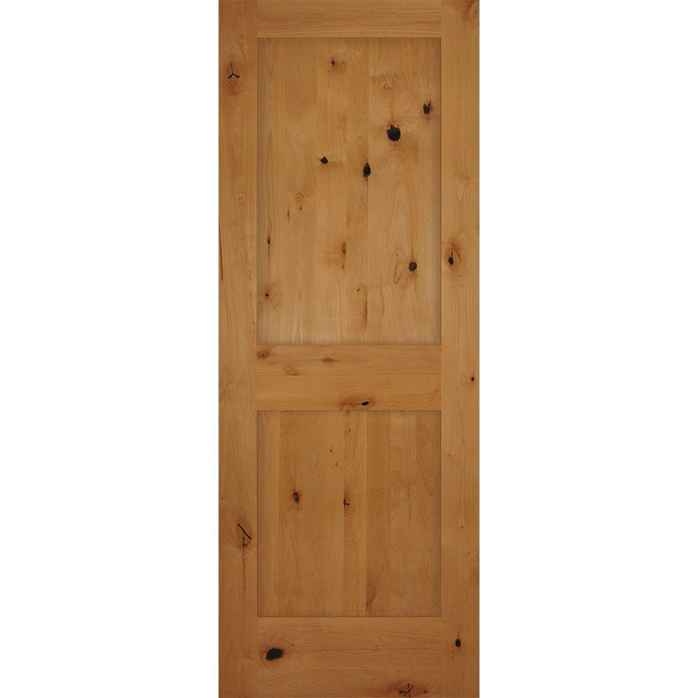 builders choice 30 in x 80 in 2 panel shaker solid core knotty