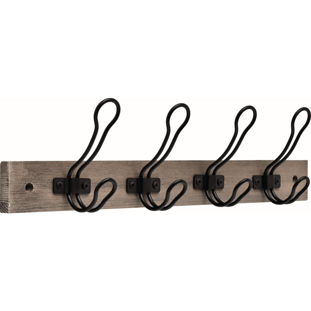 Liberty 18 in. Graywash and Matte Black Rustic Wire Hook Rack