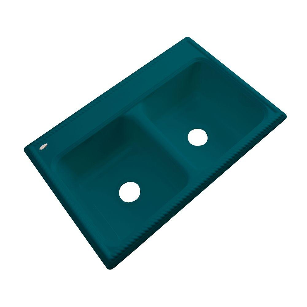 Thermocast Seabrook Drop-In Acrylic 33 in. Double Bowl Kitchen Sink in Teal