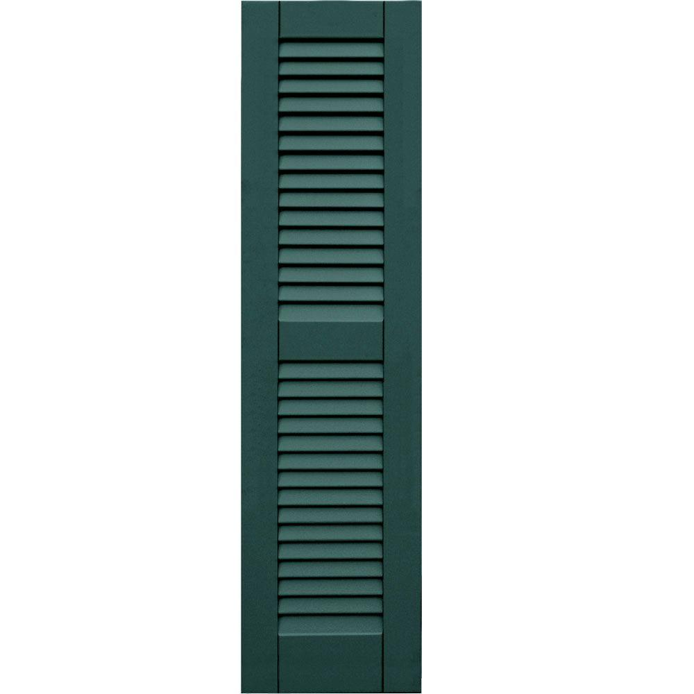 null Wood Composite 12 in. x 46 in. Louvered Shutters Pair #633 Forest Green