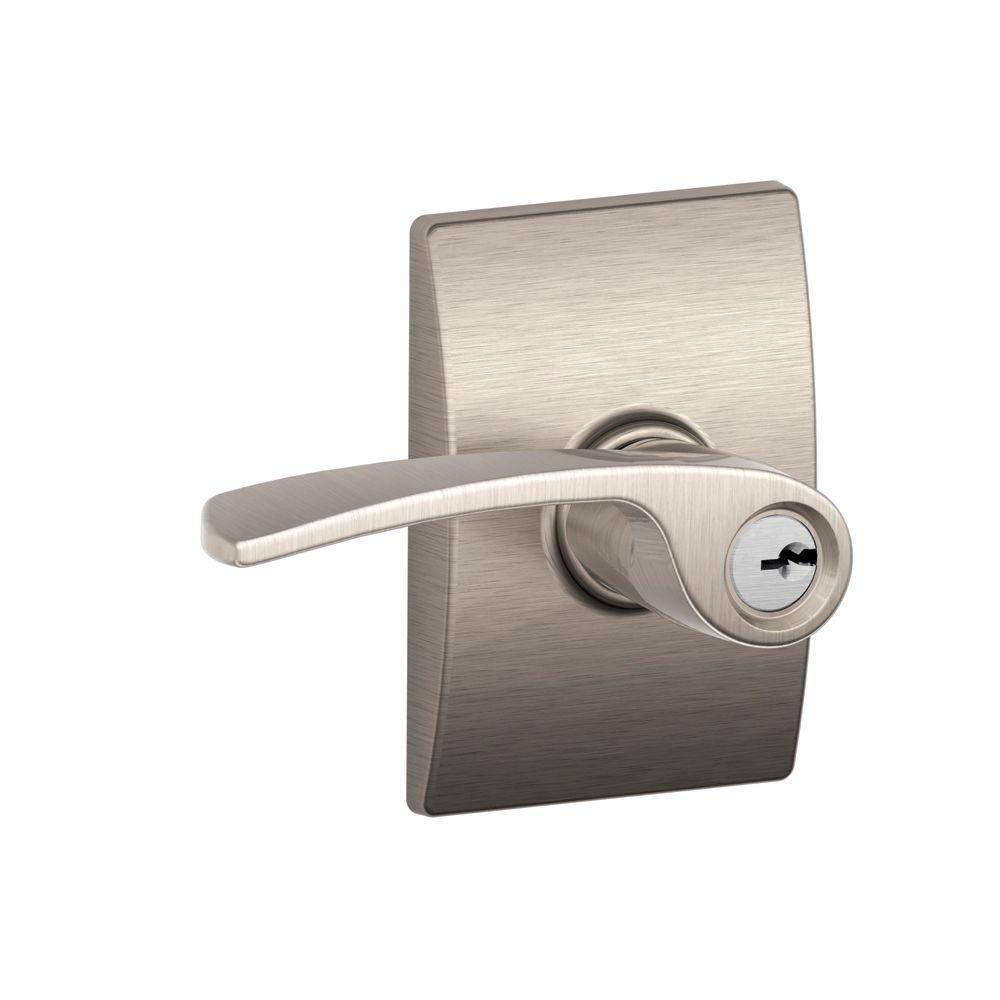 Merano Satin Nickel Keyed Entry Door Lever with Century Trim