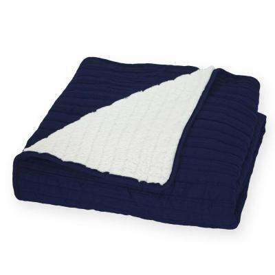 Garment Washed Crinkle 60 in. x 70 in. Throw Reversing to Faux Fur in Navy