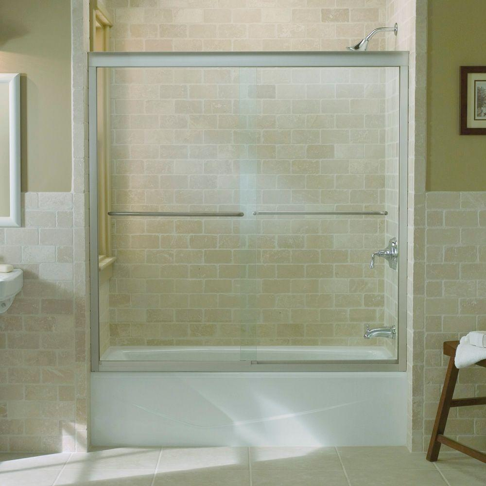 KOHLER Fluence 59-5/8 in. x 58-5/16 in. Semi-Frameless Sliding ...
