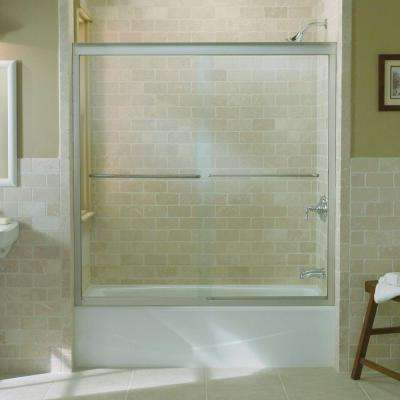 Fluence 59-5/8 in. x 58-5/16 in. Semi-Frameless Sliding Bathdoor in Matte Nickel with Handle