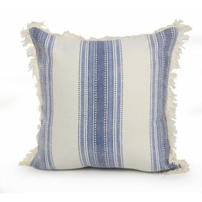 18 in. x 18 in. Blue/Cream Coastal Striped Cotton Standard Throw Pillow