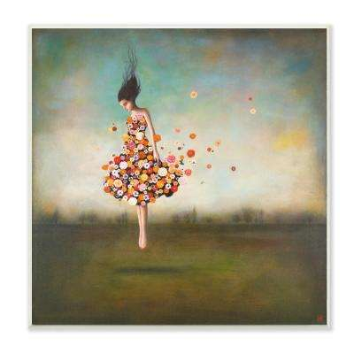 "12 in. x 12 in. ""Surreal Dress Made of Flowers in an Abstract Landscape Painting"" by Duy Huynh Wood Wall Art"