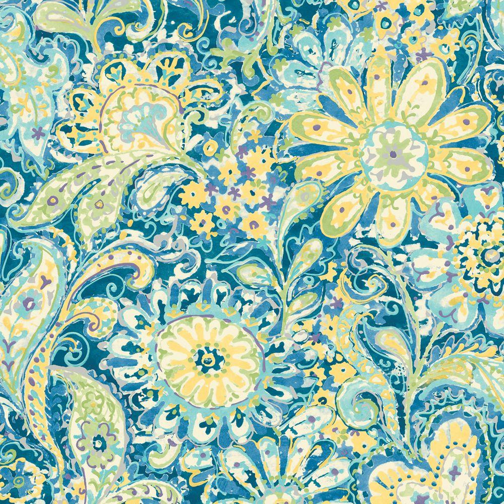 The Wallpaper Company 56 sq. ft. Blue Paisley and Petals Wallpaper-DISCONTINUED