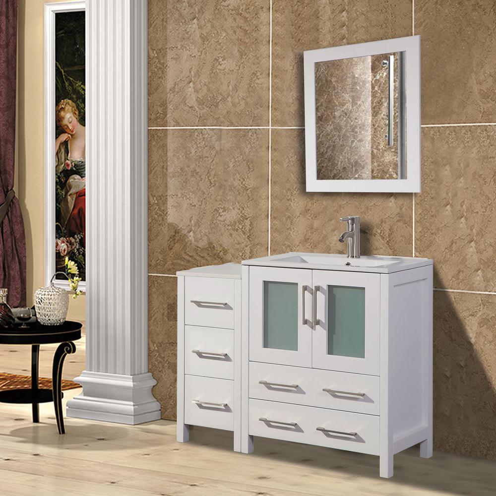 Brescia 36 in. W x 18 in. D x 36 in. H Bath Vanity in White with Vanity Top in White with White Basin and Mirror