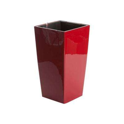 Modena 22 in. Square, Gloss Red Self-Watering Plastic Planter
