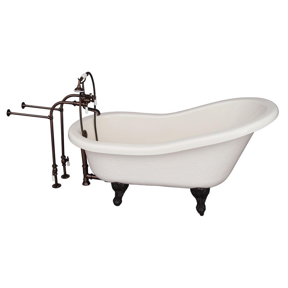 5 ft. Acrylic Ball and Claw Feet Slipper Tub in Bisque