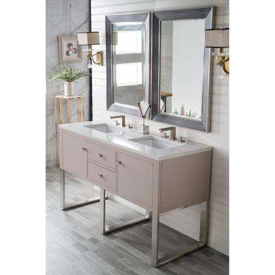 Westlake 60 in. Double Bath Vanity in Mountain Mist with Quartz Vanity Top in Eternal Jasmine Pearl with White Basin