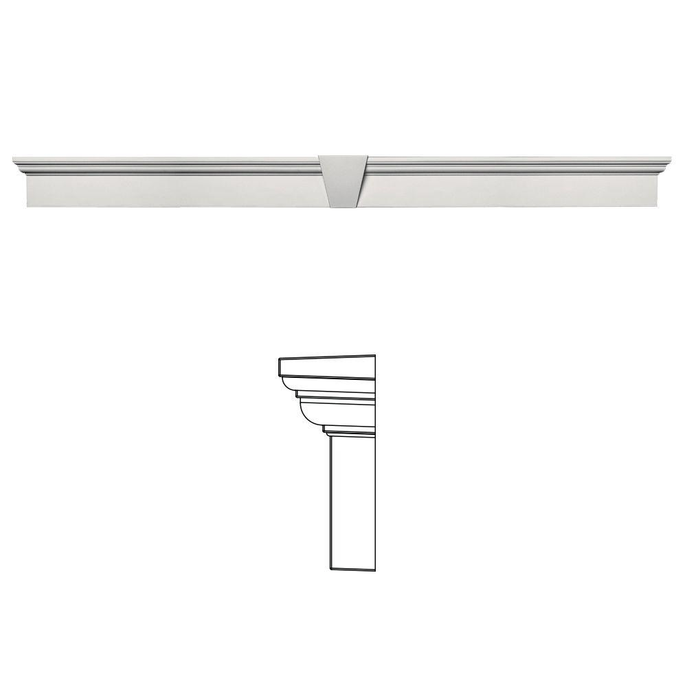 Builders Edge 6 in. x 73-5/8 in. Flat Panel Window Header with Keystone in 030 Paintable