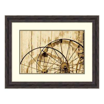 """Old wagon wheels, near Abilene, TX - Sepia"" by Carol Highsmith Framed Wall Art"