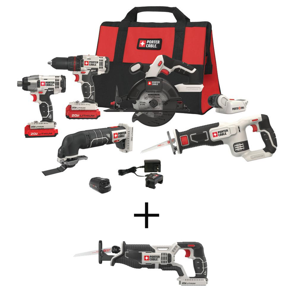 Porter-Cable 20-Volt MAX Lithium-Ion Cordless Combo Kit (6-Tool) with Free USB Charger, BONUS 20-Volt Reciprocating Saw (Tool-Only)