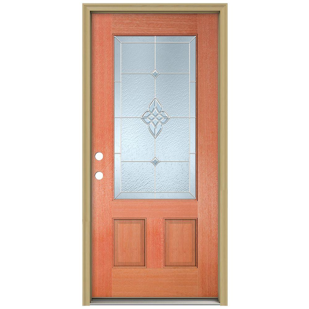 JELD-WEN 36 in. x 80 in. Rosemont 3/4 Lite Unfinished Mahogany Wood Prehung Front Door with Brickmould and Zinc Caming