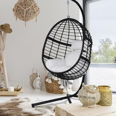 78 in. Black Steel Stand Wicker Outdoor Basket Swing Chair with White Cushion
