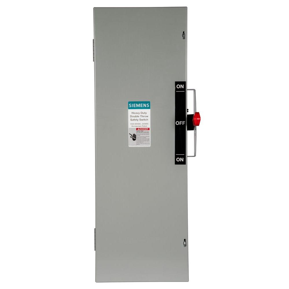 Siemens Double Throw 100 Amp 600-Volt 3-Pole Indoor Fusible Safety Switch
