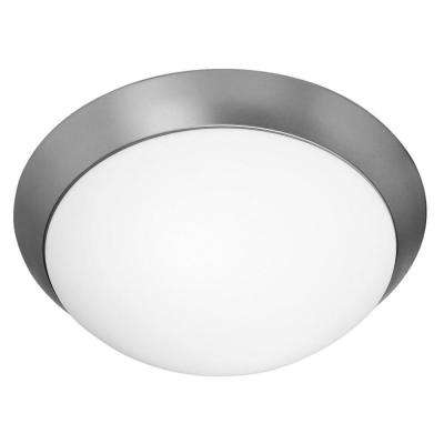 Cobalt 2-Light Brushed Steel Flushmount with Opal Glass Shade