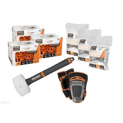 LevelMax Anti-Lippage and Spacing System Tops, Flat Stems, and Cross Stems with Knee Pads, 16 oz. Rubber Mallet