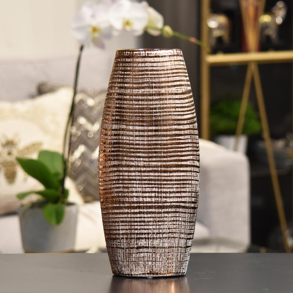 Copper Distressed Ceramic Decorative Vase