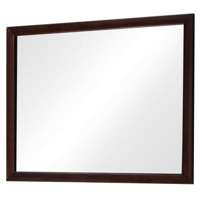 Brown Rectangular Wooden Framed Mirror in Transitional Style