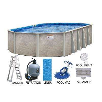 Sahara 16 ft. x 32 ft. Oval 54 in. Deep Hard Side Metal Wall with Resin Frame Above Ground Swimming Pool Package