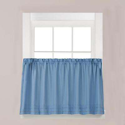 Holden Smoke Polyester Rod Pocket Tier Curtain - 57 in. W x 45 in. L