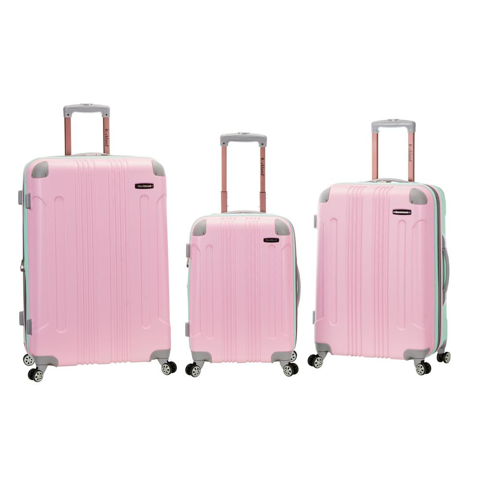 Rockland ABS Upright Set with Spinner Wheels Luggage (3-P...