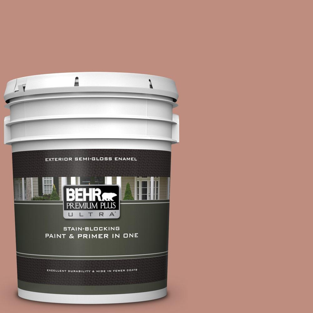 BEHR Premium Plus Ultra 5 gal  #200F-4 Foxen Semi-Gloss Enamel Exterior  Paint and Primer in One