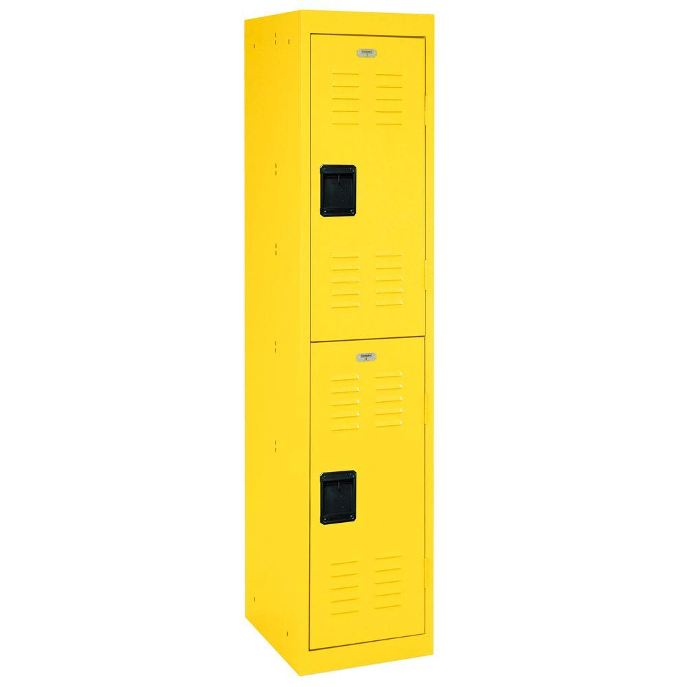 Sandusky 66 in. H x 15 in. W x 18 in. D 2-Tier Welded Steel Storage Locker in Yellow