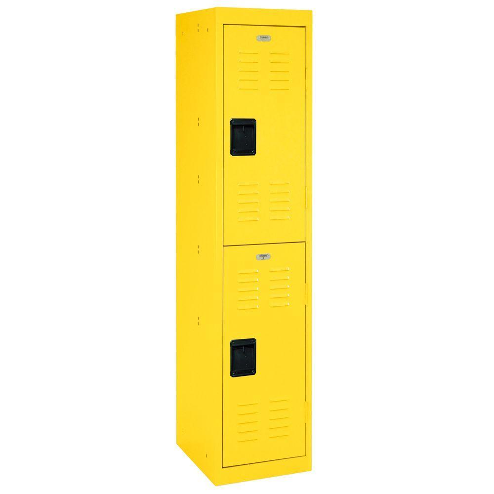 66 in. H x 15 in. W x 18 in. D 2-Tier Welded Steel Storage Locker in Yellow