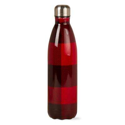 Buffalo Check 25 oz. Red and Black Stainless Steel Bottle