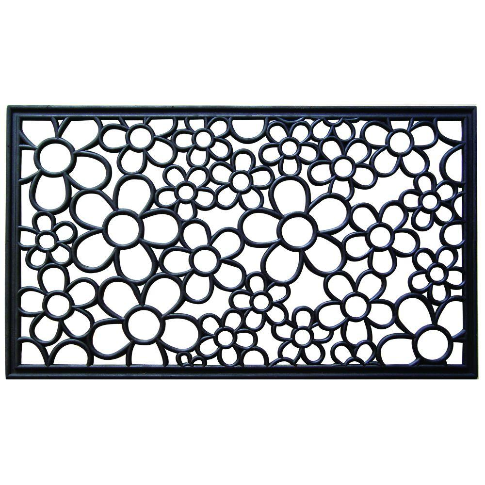 Entryways Daisies 18 in. x 30 in. Recycled Rubber Door Mat