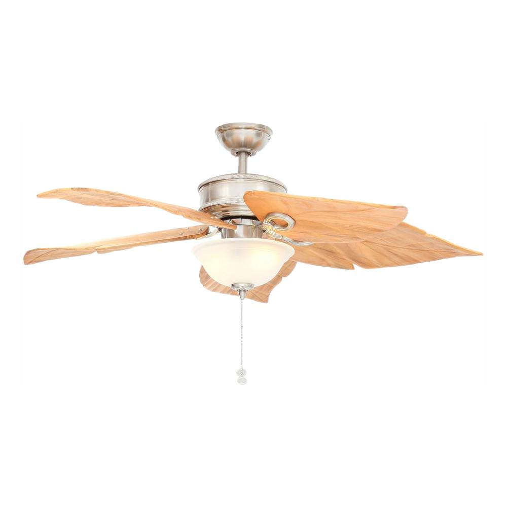 Hampton Bay Costa Mesa 56 in. LED Indoor/Outdoor Brushed Nickel Ceiling Fan with Light Kit