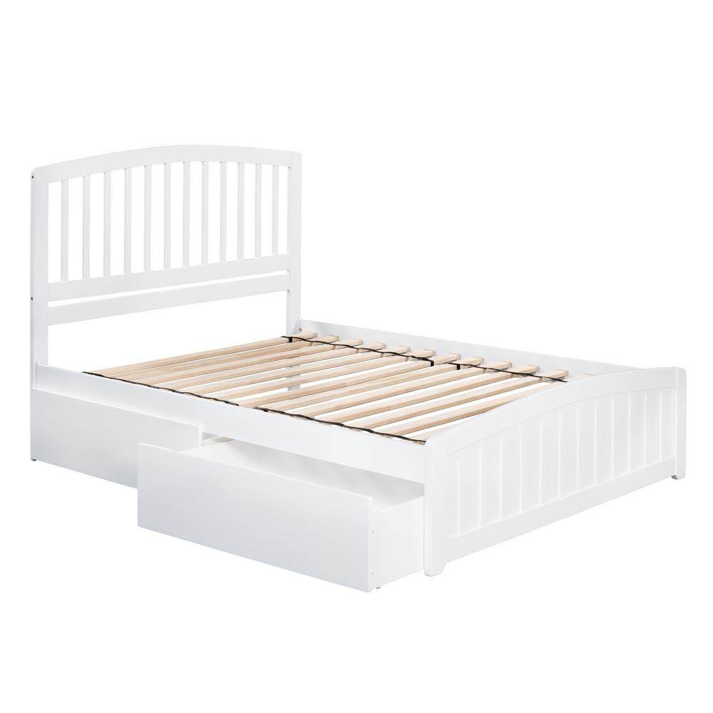 4841ca51e78e4 Richmond White Full Platform Bed with Matching Foot Board with 2-Urban Bed  Drawers