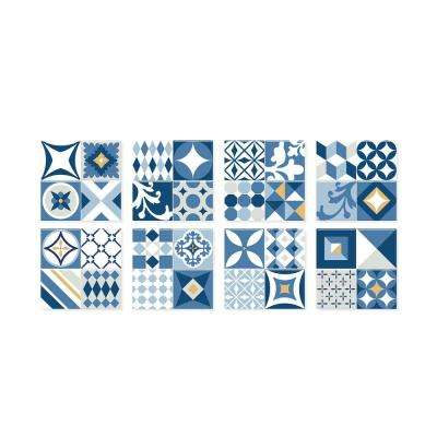 Vintage Azur Blue 9 in. W x 9 in. H Multi Peel and StickSelf-Adhesive Decorative Mosaic Wall Tile Backsplash (6-Pack)