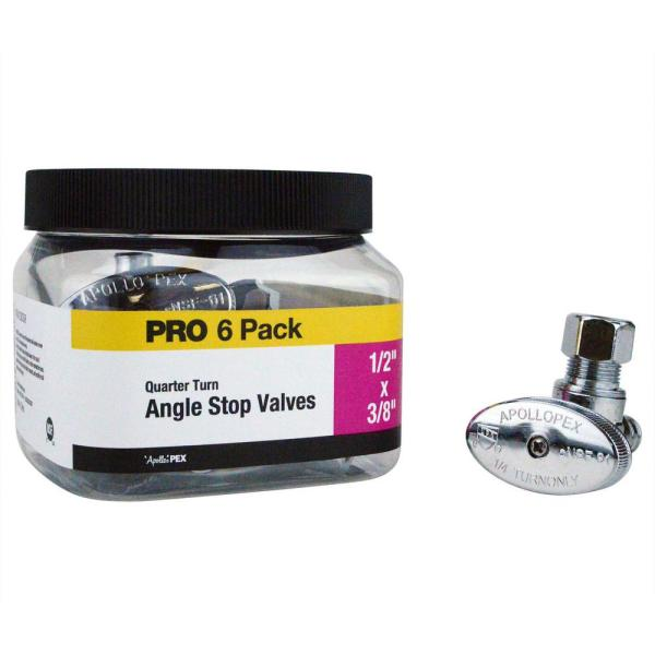 1/2 in. Chrome-Plated Brass PEX Barb x 3/8 in. Compression Quarter-Turn Angle Stop Valve Pro Pack (6-Pack)